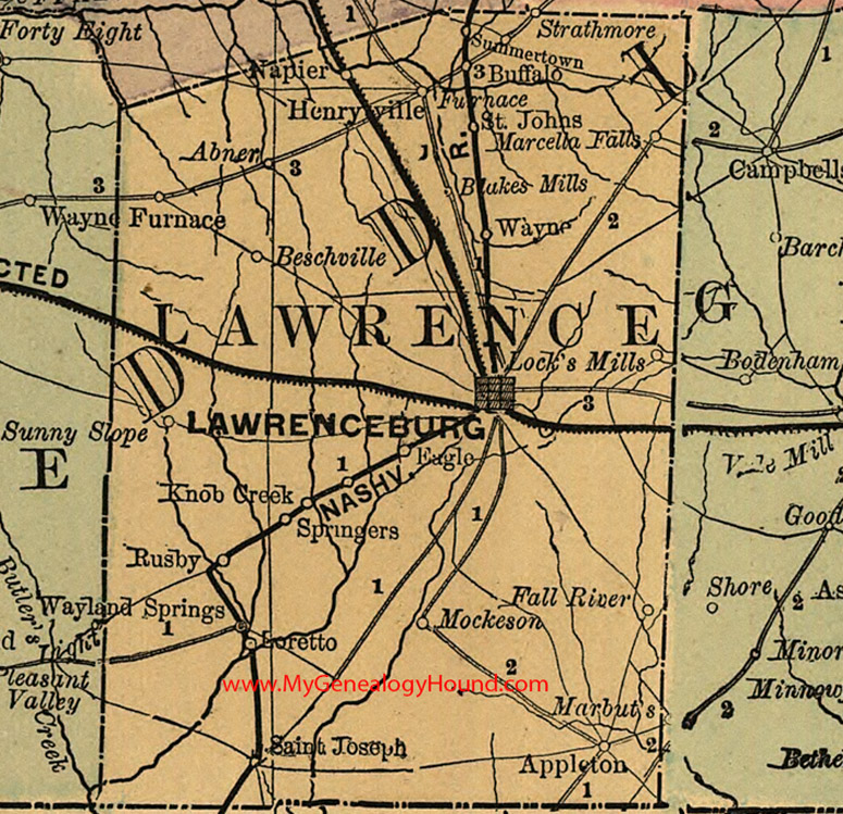 Lawrence County Tennessee 1888 Map