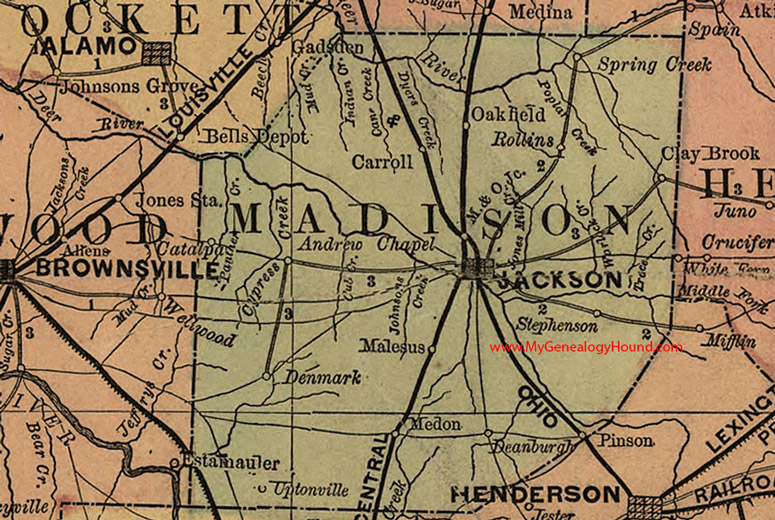 Madison County Tennessee 1888 Map