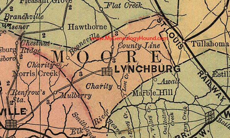 Moore County, Tennessee 1888 Map