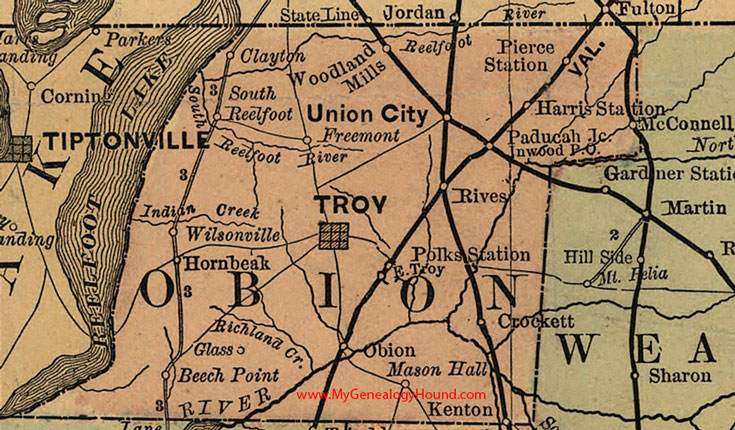 Obion County, Tennessee 1888 Map
