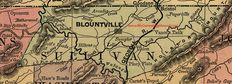 Sullivan County Tennessee 1888 Map