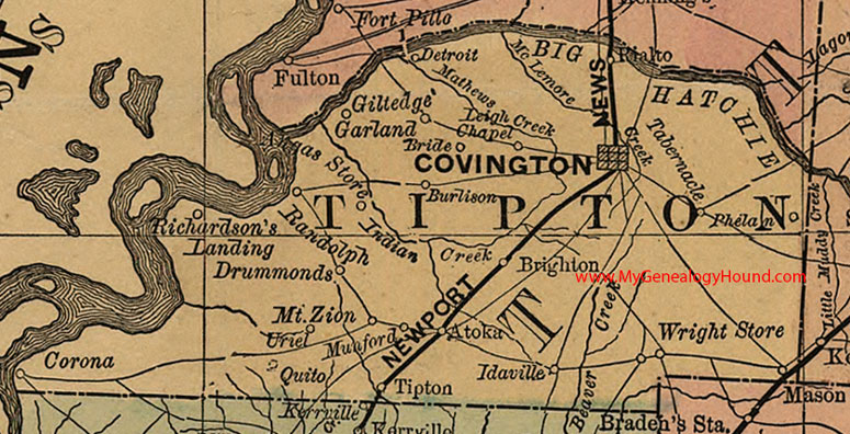 Tipton County, Tennessee 1888 Map