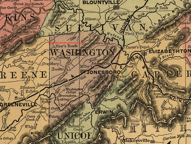 Limestone Tennessee Map.Washington County Tennessee 1888 Map