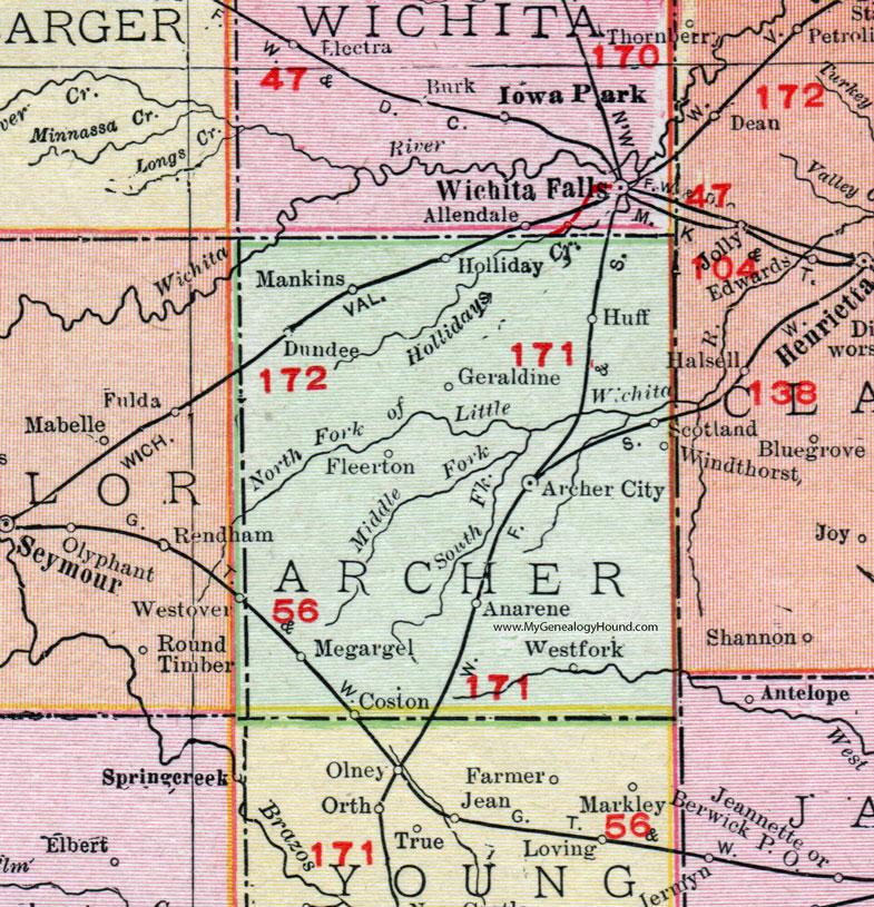 Archer City Texas Map Archer County, Texas, 1911, Map, Rand McNally, Archer City