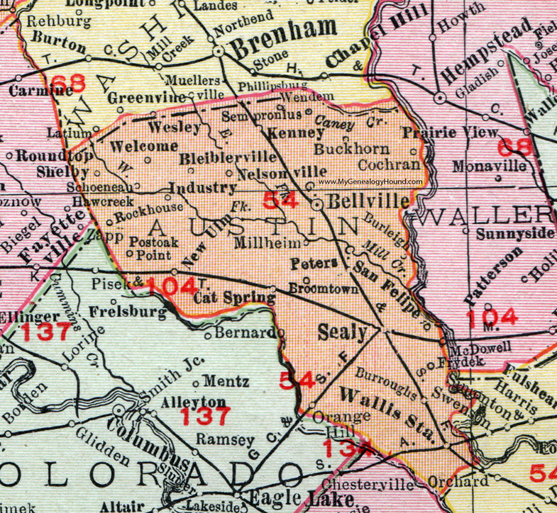 Austin County Texas 1911 Map Rand Mcnally Bellville Sealy