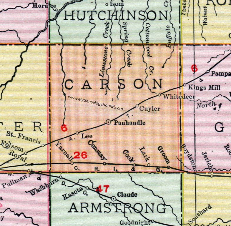 Carson County Texas Map 1911 Panhandle White Deer Groom