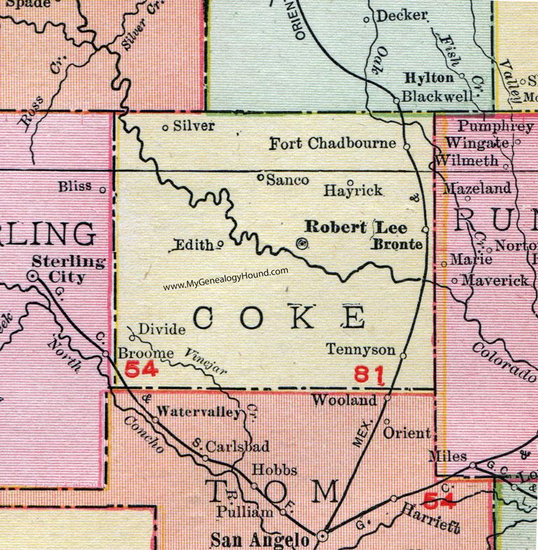 Coke County Texas Map Coke County, Texas, Map, 1911, Robert Lee, Bronte, Silver, Edith