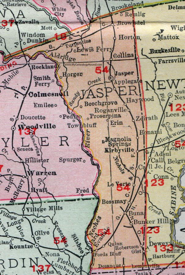 Jasper County Texas Map