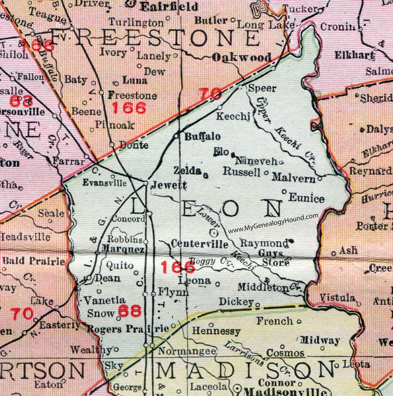 Leon County Texas Map Leon County, Texas, Map, 1911, Centerville, Buffalo, Jewett