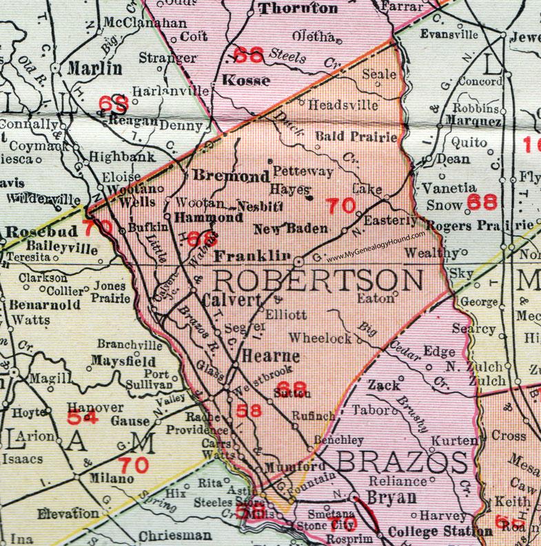 Robertson County Texas Map Robertson County, Texas, Map, 1911, Calvert, Franklin, Hearne