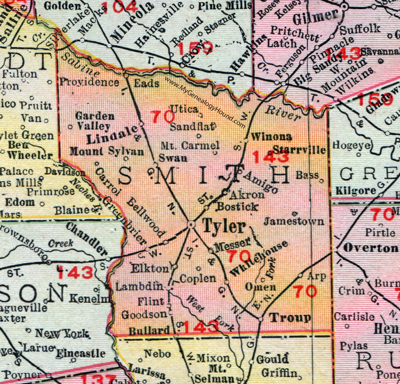 Smith County Texas Map Smith County, Texas, Map, 1911, Tyler, Lindale, Troup, Whitehouse
