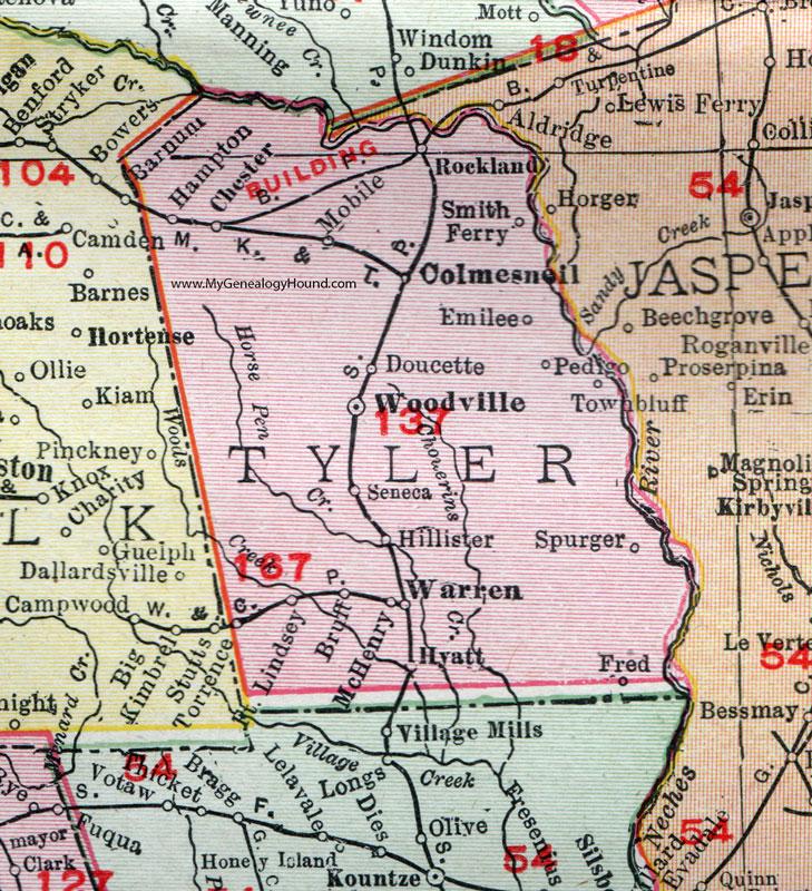 Tyler County Texas 1911 Map Rand McNally Woodville Colmesneil