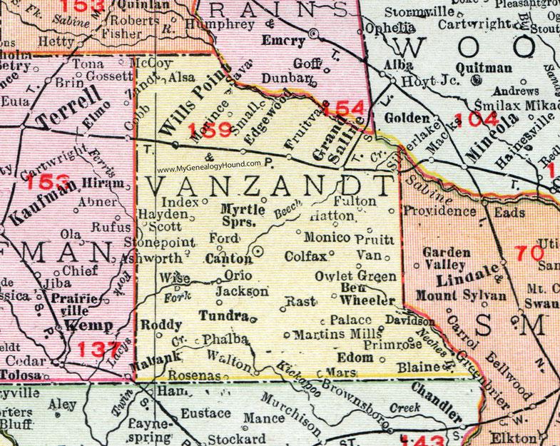 Ben Wheeler Texas Map Van Zandt County, Texas, Map, 1911, Canton, Van, Grand Saline