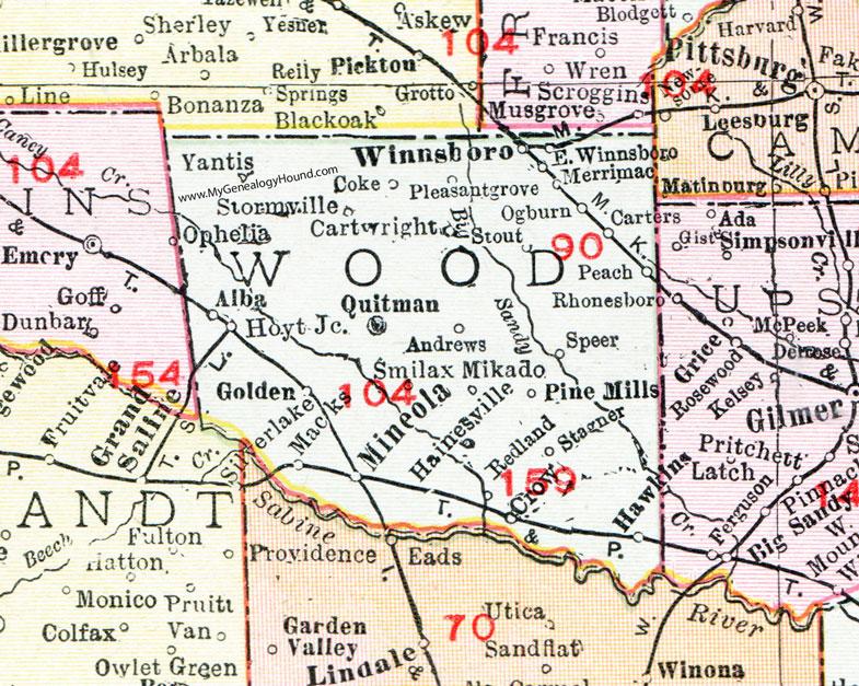 Map Of Quitman Tx.Wood County Texas Map 1911 Quitman Mineola Winnsboro Yantis
