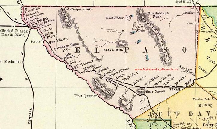 El Paso County, Texas 1897 Map