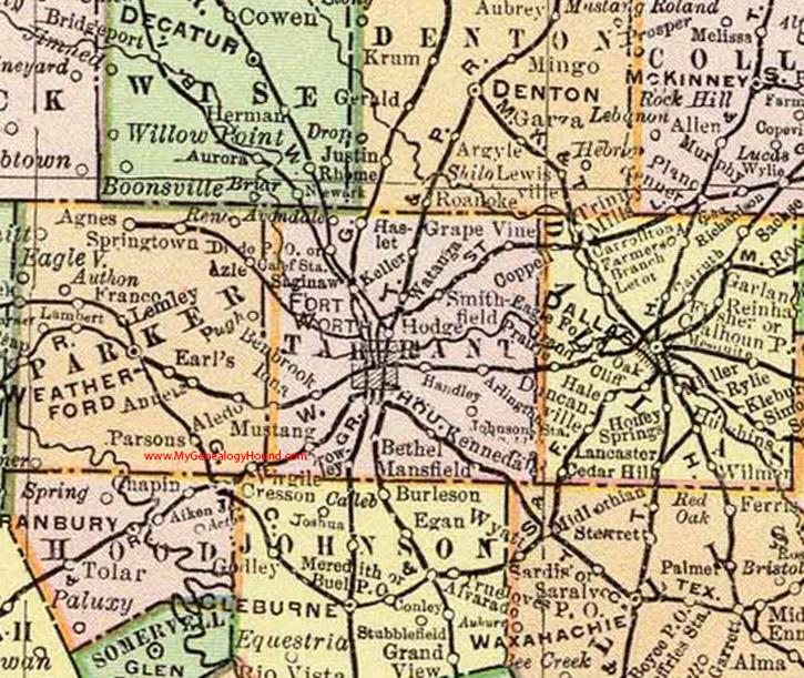 Tarrant County Texas 1897 Map