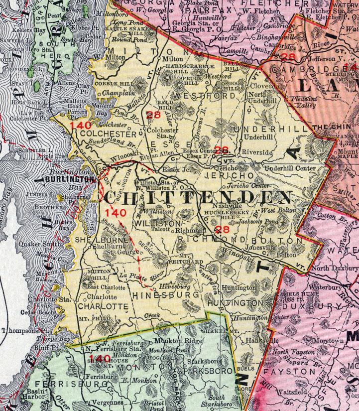 County Vermont 1911 Map Rand McNally Burlington Winooski