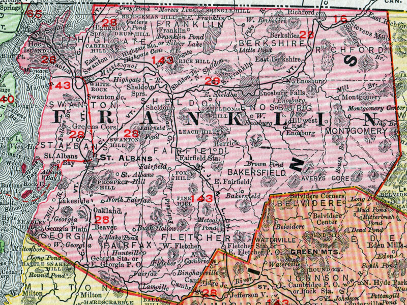 Franklin County, Vermont, 1911, Map, Rand McNally, St. Albans ...