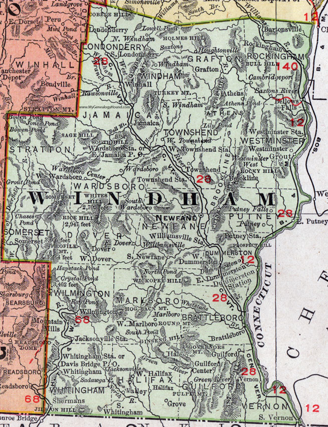 Windham County Vermont 1911 Map Rand McNally Newfane