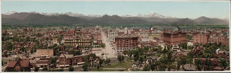 Denver Colorado Skyline Panoramic 1898 Historic Photo