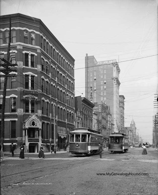 Louisville Kentucky Market Street 1900 1910 Historic Photo