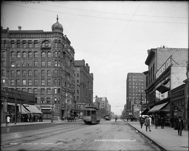 minneapolis  minnesota  hennepin avenue  1908  historic photo