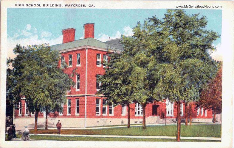 Waycross Georgia High School Building Vintage Postcard Photo