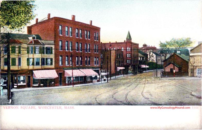 worcester massachusetts vernon square vintage postcard photo