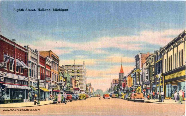 Holland, Michigan, Eighth Street, vintage postcard photo