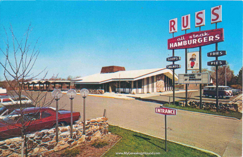 Muskegon Michigan Russ Restaurant Drive In Vintage Postcard Photo