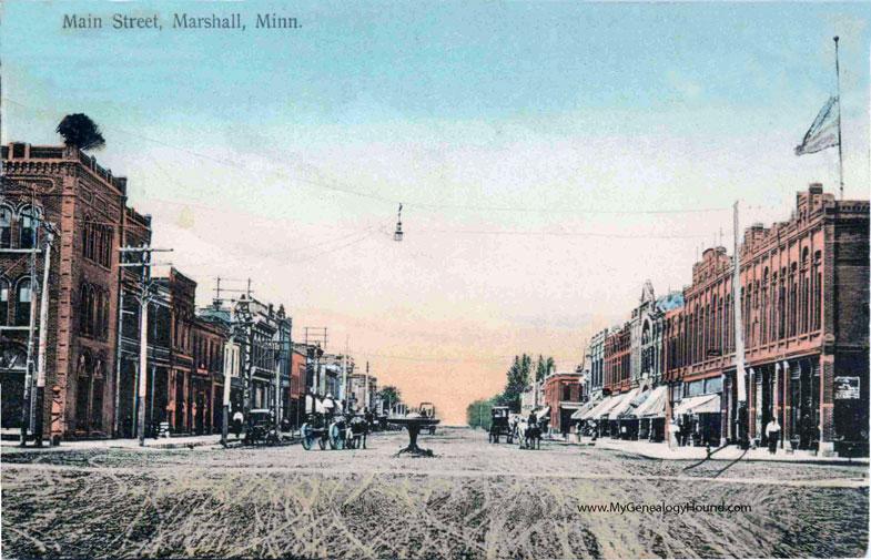 marshall  minnesota  main street  vintage postcard photo