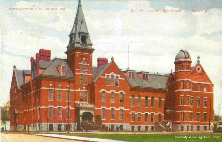 st  paul  minnesota  central high school  vintage postcard