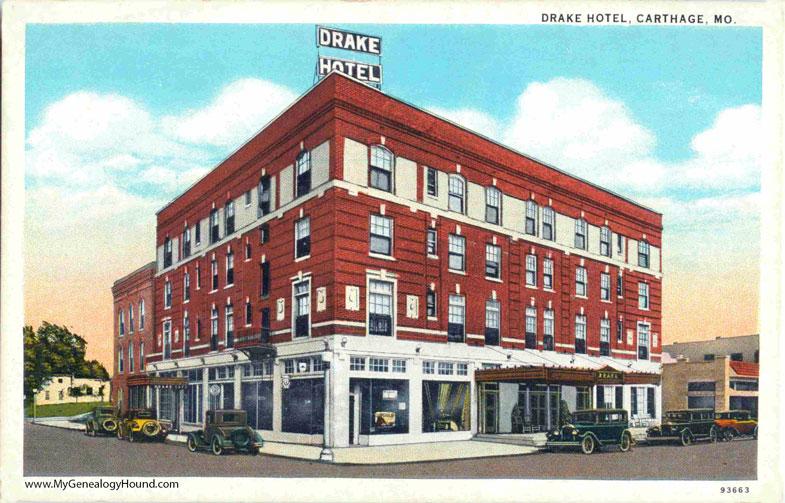 Carthage Missouri Drake Hotel Vintage Postcard Photo