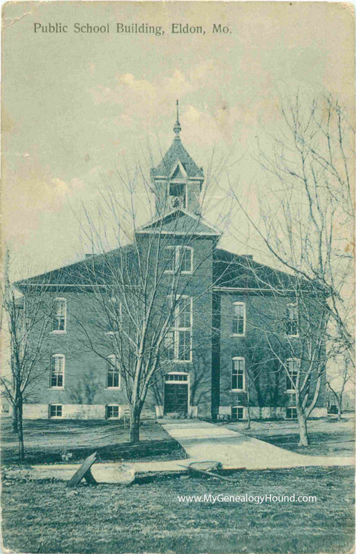 eldon  missouri public school building  vintage postcard