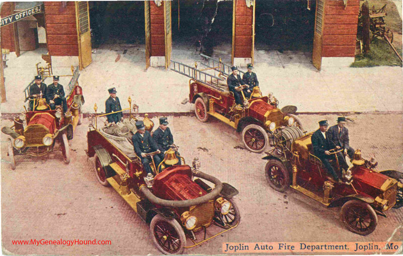Joplin, Missouri, Auto Fire Department in 1909, vintage postcard photo