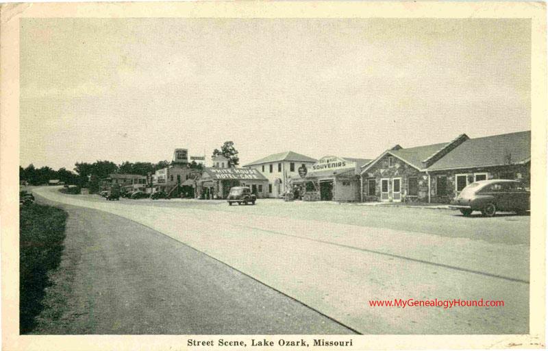 Lake Ozark Missouri Street Scene White House Hotel Vintage Postcard Historic Photo