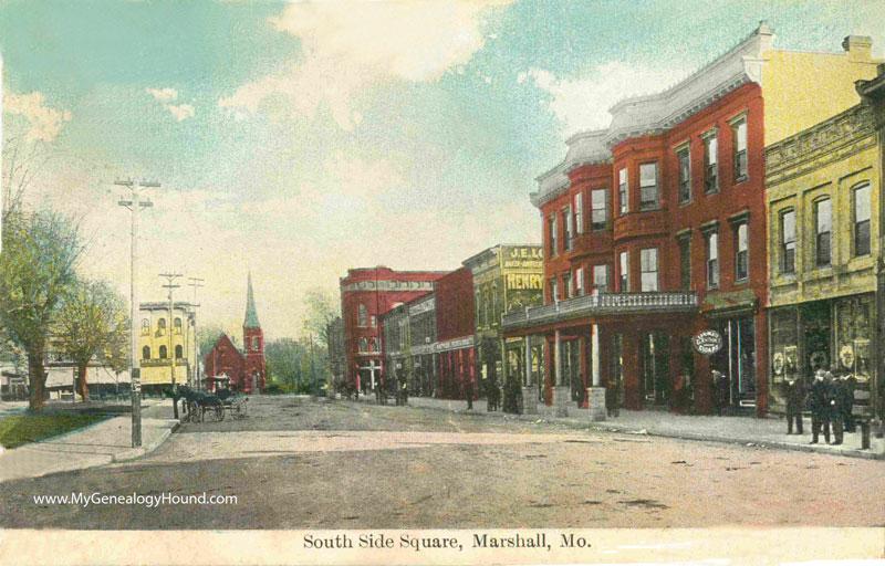 marshall  missouri south side square vintage  postcard photo