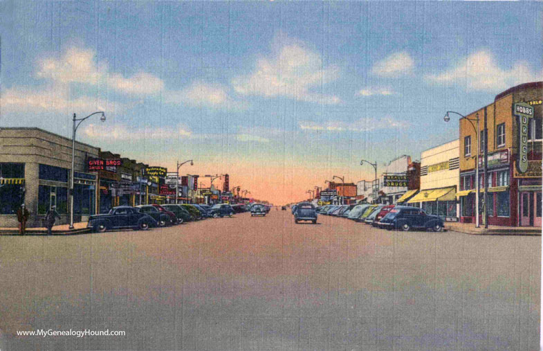 State Street Auto >> Hobbs, New Mexico, Broadway Looking West, vintage postcard ...