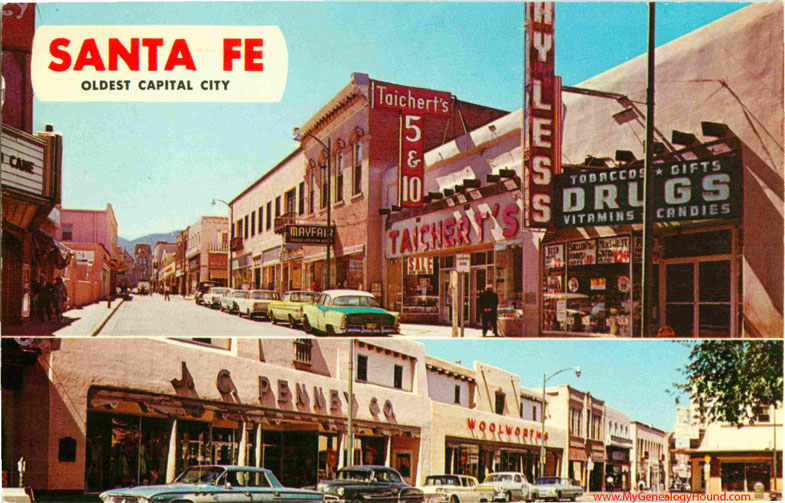 Santa fe new mexico san francisco street vintage postcard photo publicscrutiny Choice Image