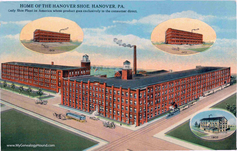 Hanover pennsylvania home of the hanover shoe vintage for The hanover house