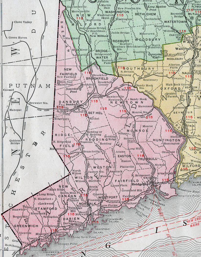Fairfield County, Connecticut, 1911, Map, Rand McNally, Bridgeport ...