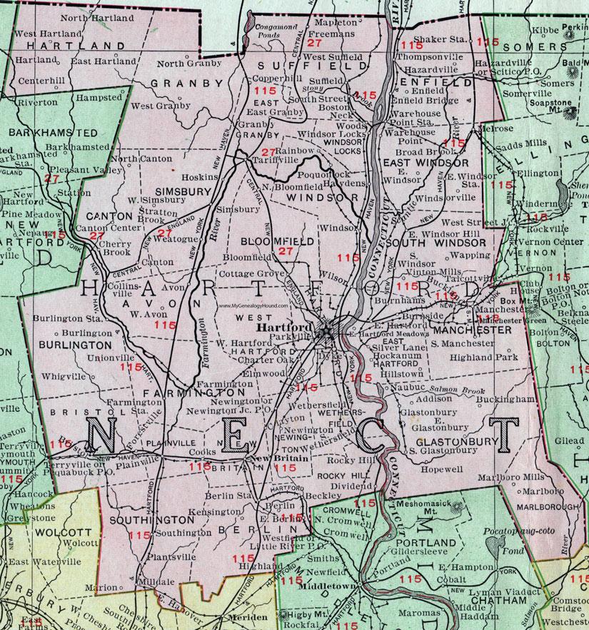 Hartford County, Connecticut, 1911, Map, Rand McNally ...