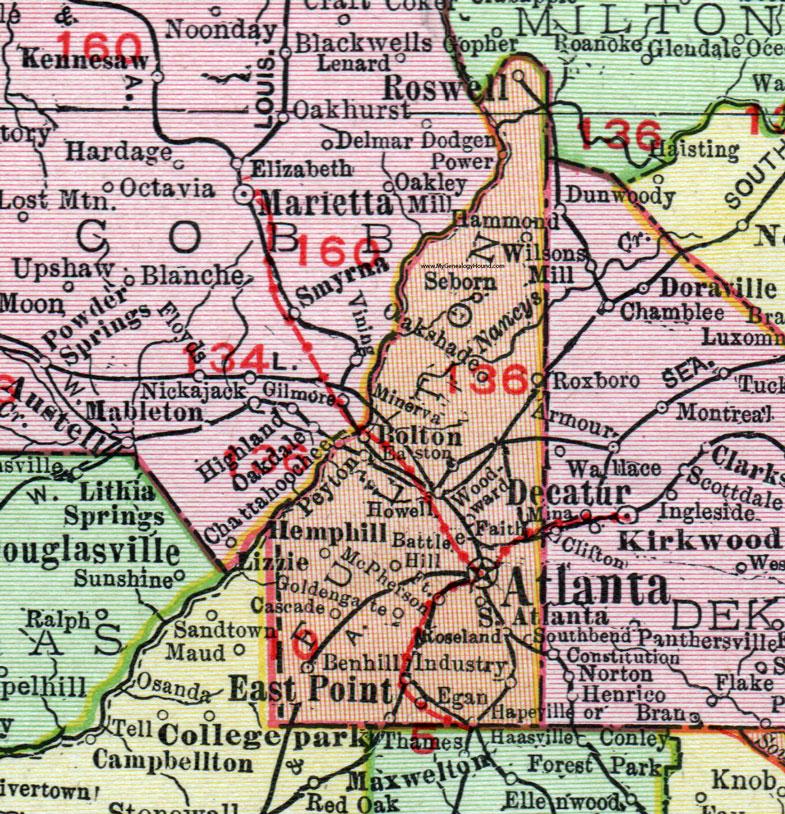 Map Of East Georgia.Fulton County Georgia 1911 Map Rand Mcnally Atlanta Roswell