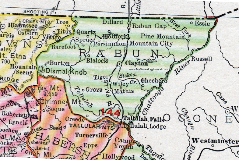 Tiger Georgia Map Rabun County, Georgia, 1911, Map, Rand McNally, Clayton, Mountain