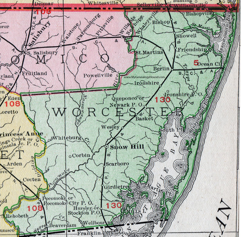 Worcester County Map Worcester County, Maryland, Map, 1911, Rand McNally, Snow Hill  Worcester County Map