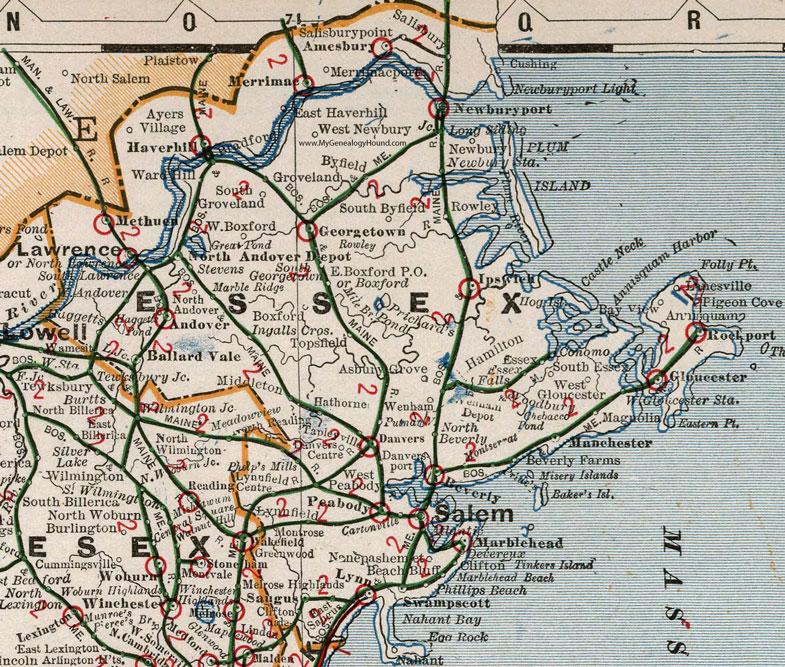 Map Of Gloucester Ma Essex County, Massachusetts, 1901, Map, Cram, Lawrence, Salem  Map Of Gloucester Ma