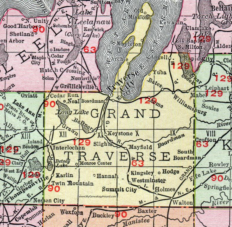 Map Of Traverse City Michigan Grand Traverse County, Michigan, 1911, Map, Rand McNally, Traverse  Map Of Traverse City Michigan
