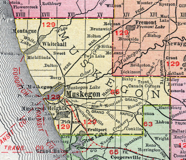 Muskegon County, Michigan, 1911, Map, Rand McNally, Montague ...