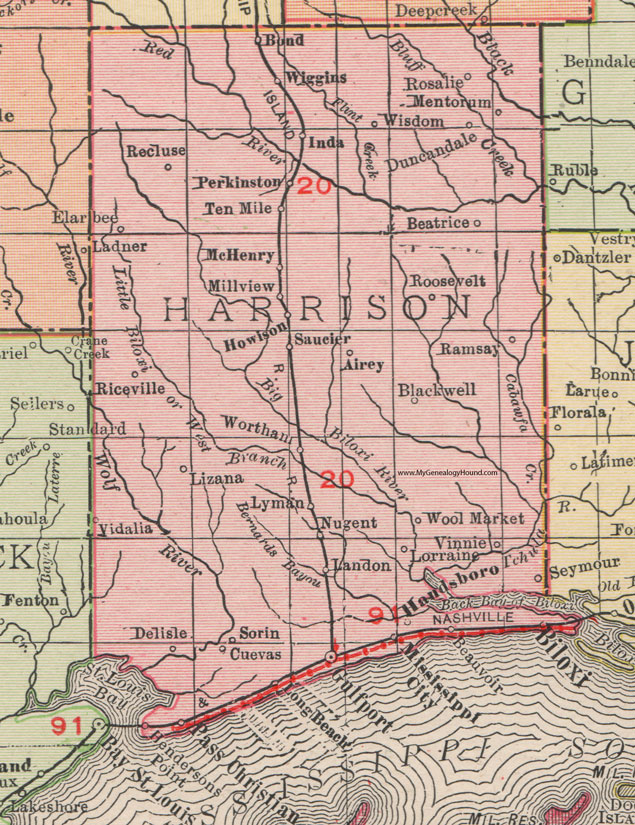 Harrison County Mississippi 1911 Map