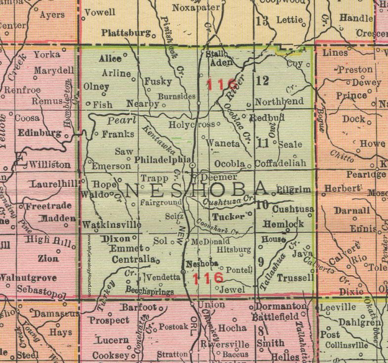 jessup county mississippi map Neshoba County Mississippi 1911 Map Rand Mcnally Philadelphia jessup county mississippi map